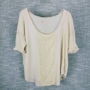 Free People Cream Knit Top T Shirt Small w Lace